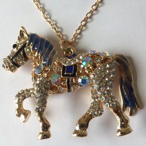 Rhinestones Pony Necklace